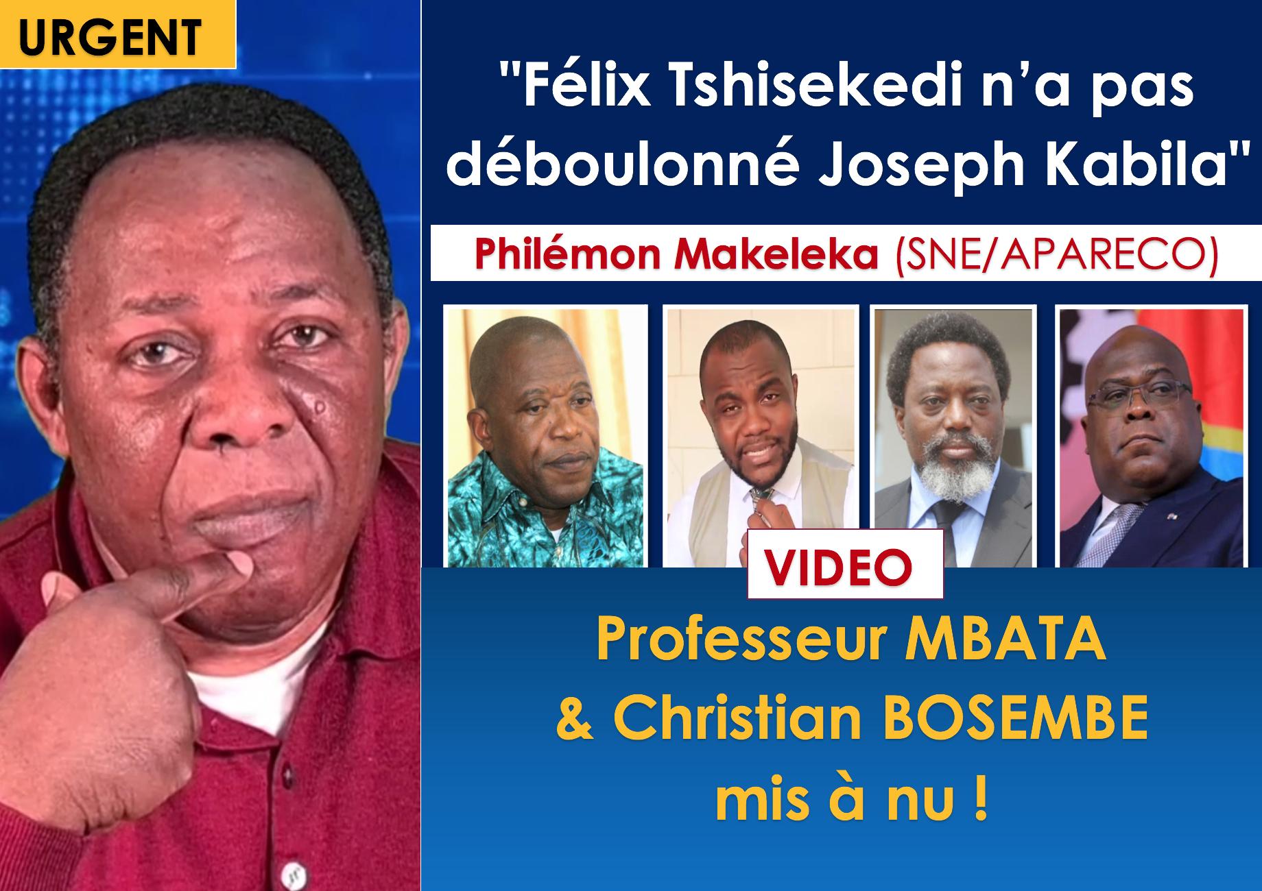 """VIDEO/ """"Félix Tshisekedi n'a pas déboulonné Joseph Kabila""""-Philémon Makeleka (SNE/APARECO) Professeur MBATA Christian BOSEMBE mis à nu!"""