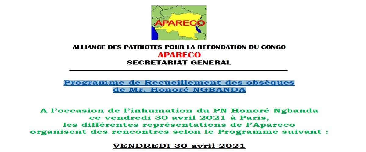 Programme de Recueillement des obsèques de Mr. Honoré NGBANDA