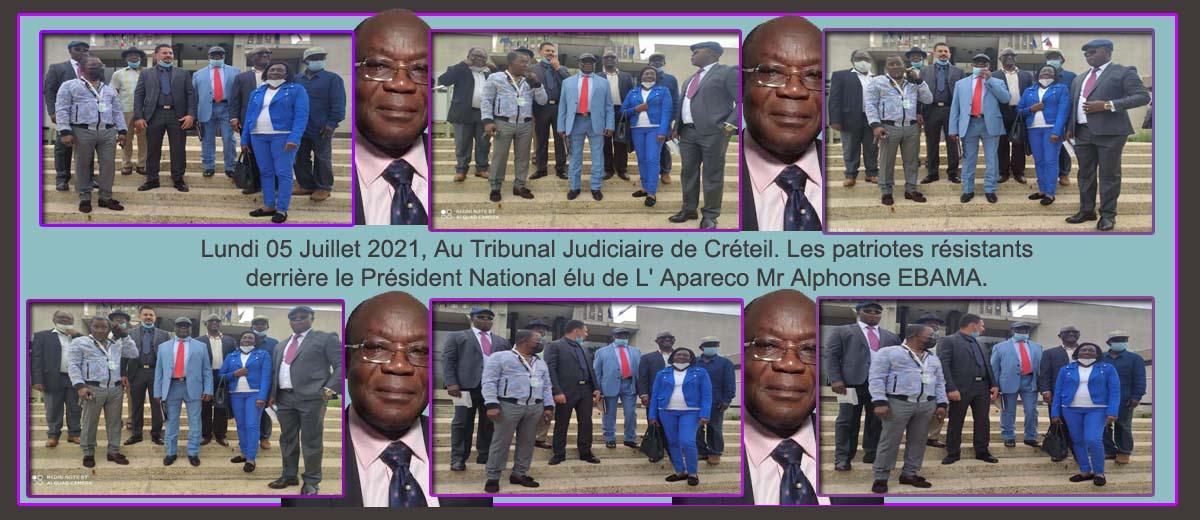 Lundi 05 Juillet 2021, Au Tribunal Judiciaire de Créteil. Les patriotes résistants derrière le Président National élu de L' Apareco Mr Alphonse EBAMA.
